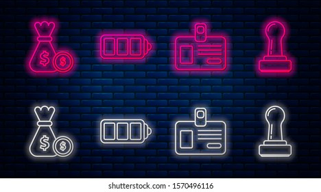 Set line Battery charge level indicator, Identification badge, Money bag and coin and Stamp. Glowing neon icon on brick wall. Vector