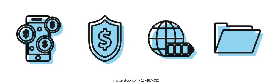 Set line Battery charge level indicator with earth globe, Smartphone with dollar symbol, Shield with dollar symbol and Document folder icon. Vector