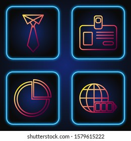 Set line Battery charge level indicator with earth globe, Pie chart infographic, Tie and Identification badge. Gradient color icons. Vector