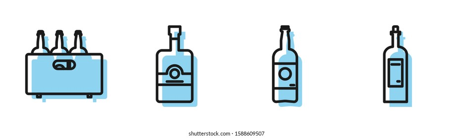 Set line Beer bottle , Bottles of wine in a wooden box , Whiskey bottle  and Bottle of wine  icon. Vector