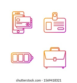 Set line Briefcase, Battery charge level indicator, Mobile phone and credit card and Identification badge. Gradient color icons. Vector