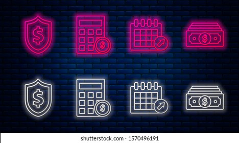 Set line Calculator with dollar symbol, Calendar, Shield with dollar symbol and Stacks paper money cash. Glowing neon icon on brick wall. Vector