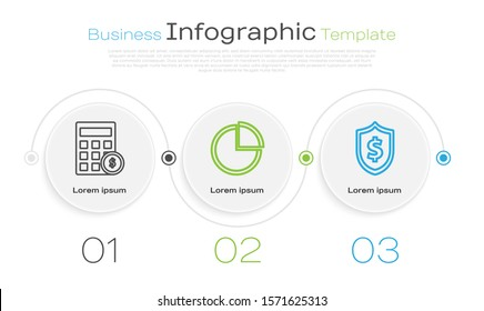 Set line Calculator with dollar symbol, Pie chart infographic and Shield with dollar symbol. Business infographic template. Vector