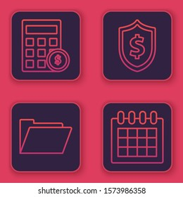 Set line Calculator with dollar symbol, Document folder, Shield with dollar symbol and Calendar. Blue square button. Vector