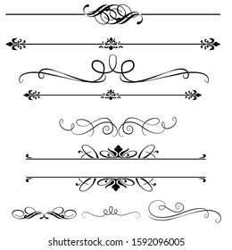 set of line calligraphics element, lines of vintage vector. elements for your design.