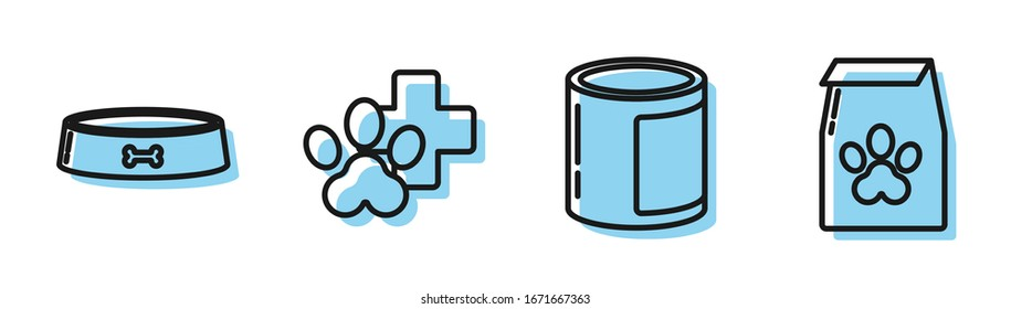 Set line Canned food, Pet food bowl, Veterinary clinic symbol and Bag of food for pet icon. Vector