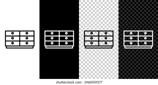 Set line Chest of drawers icon isolated on black and white background. Vector