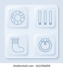 Set line Christmas wreath, Three rolled sticks of cinnamon, Christmas stocking and Christmas wreath. White square button. Vector