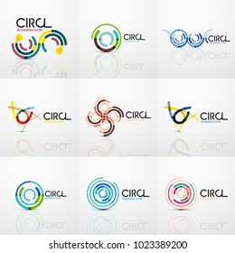 Set of line circles logos. Geometric brand company logotype emblems, abstract business identity shapes