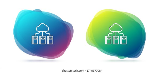 Set line Cloud or online library icon isolated on white background. Internet education or distance training. Abstract banner with liquid shapes. Vector Illustration