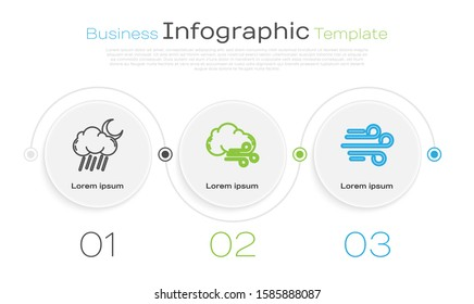 Set line Cloud with rain and moon, Windy weather and Wind. Business infographic template. Vector