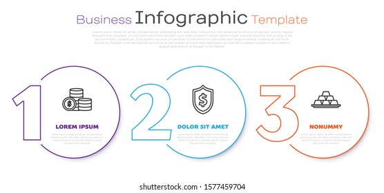 Set line Coin money with dollar symbol, Shield with dollar symbol and Gold bars. Business infographic template. Vector