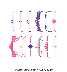Set of line color pop art graphical braces, brackets. Geometrical design frame elements, parenthesis.