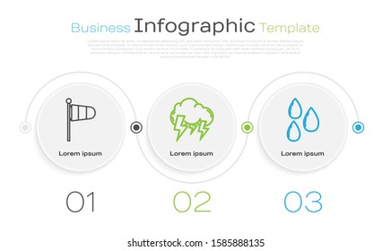 Set line Cone meteorology windsock wind vane, Storm and Water drop. Business infographic template. Vector