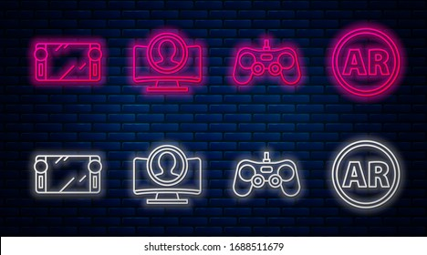 Set line Create account screen, Gamepad, Portable video game console and Ar, augmented reality. Glowing neon icon on brick wall. Vector