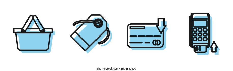 Set line Credit card, Shopping basket, Blank label template price tag and Pos terminal with inserted credit card icon. Vector