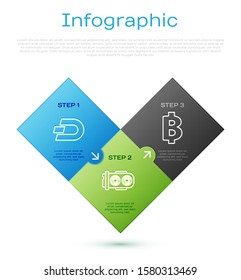 Set line Cryptocurrency coin Dash, Cryptocurrency coin Bitcoin, Mining farm and Cryptocurrency wallet. Business infographic template. Vector