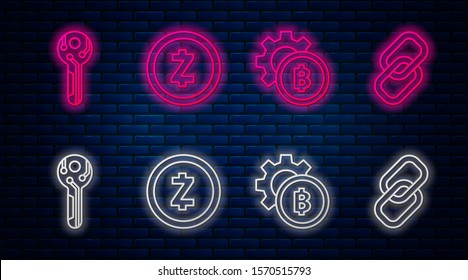 Set line Cryptocurrency coin Zcash ZEC, Cryptocurrency coin Bitcoin, Cryptocurrency key and Chain link. Glowing neon icon on brick wall. Vector