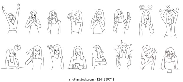 Set of  line drawing of woman character in deferent emotions. Borderline Personality Disorder, emotion controlling concepts. For illustration, presentation, story telling and coloring book.