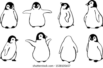 Set of line drawings with little penguins. Vector illustration, drawn by hand.Set of line drawings with little penguins. Vector illustration, drawn by hand.