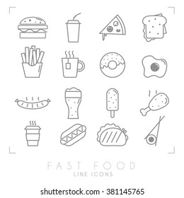 Set of line fast food icons. Flat style. Coffee, hamburger, pizza, sandwich, fried potato, tea, donut, egg, grilled sausage, beer, ice cream, chicken, hot dog, tacos, sushi roll