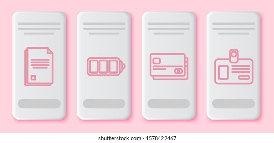 Set line File document, Battery charge level indicator, Credit card and Identification badge. White rectangle button. Vector