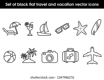 Set of line flat travel and vacation vector icons. Palm tree, sailing ship, beach ball, camera, surfing board, plane, sunglasses, suitcase, drink, starfish and sunbed, eps file