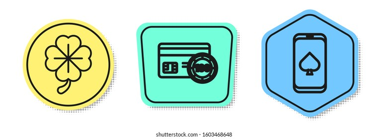 Set line Four leaf clover, Credit card and Online poker table game. Colored shapes. Vector