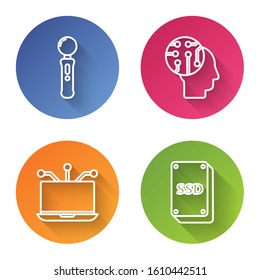 Set line Gamepad, Human brain as digital circuit board, Laptop and SSD card. Color circle button. Vector