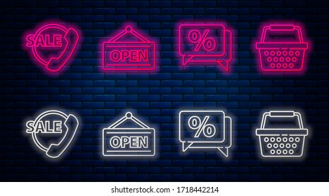 Set line Hanging sign with Open, Discount percent tag, Telephone 24 hours support and Shopping basket. Glowing neon icon on brick wall. Vector