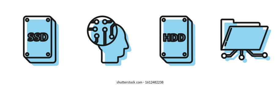 Set line Hard disk drive HDD, SSD card, Human brain as digital circuit board and Folder and lock icon. Vector