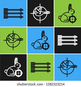 Set line Hipster arrows, Hunt on rabbit with crosshairs and Hunt on duck with crosshairs icon. Vector