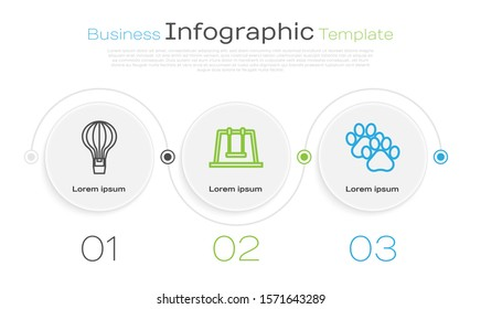 Set line Hot air balloon, Swing and Paw print. Business infographic template. Vector