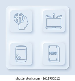 Set line Human brain as digital circuit board, Laptop, Voice assistant and Hard disk drive HDD. White square button. Vector