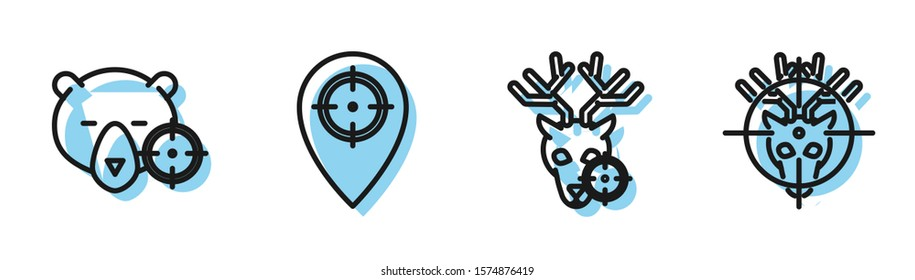 Set line Hunt on deer with crosshairs, Hunt on bear with crosshairs, Hunt place and Hunt on deer with crosshairs icon. Vector