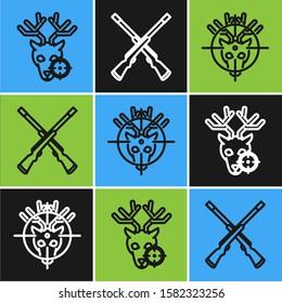 Set line Hunt on deer with crosshairs, Hunt on deer with crosshairs and Two crossed shotguns icon. Vector
