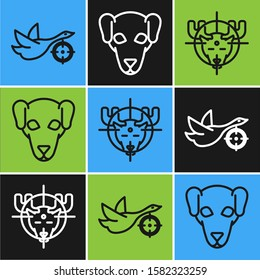 Set line Hunt on duck with crosshairs, Hunt on moose with crosshairs and Hunting dog icon. Vector
