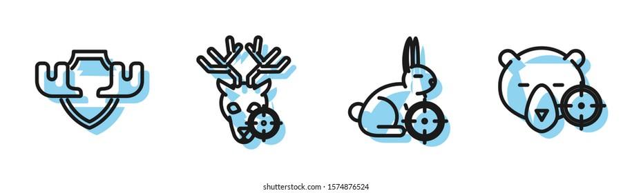 Set line Hunt on rabbit with crosshairs, Moose horns on shield, Hunt on deer with crosshairs and Hunt on bear with crosshairs icon. Vector