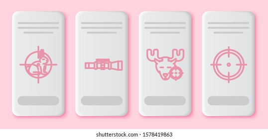 Set line Hunt on rabbit with crosshairs, Sniper optical sight, Hunt on moose with crosshairs and Target sport for shooting competition. White rectangle button. Vector