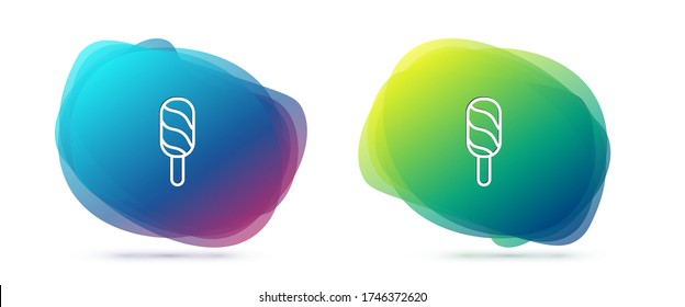 Set line Ice cream icon isolated on white background. Sweet symbol. Abstract banner with liquid shapes. Vector