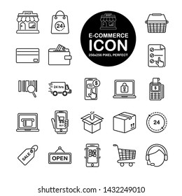 Set of line icon about E-commerce, shopping online. Include store,bag,wallet,basket,cart and more.Editable vector stroke.265x265 Pixel Perfect