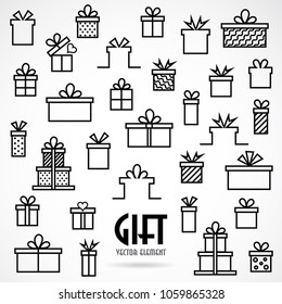 Set line icon with Gifts box, vector illustration with line elements and abstract geometric figures.