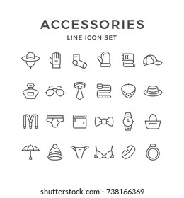 Set line icons of accessories isolated on white. Contains such icons as jewelry,  underwear, umbrella, sock, glasses, belt, purse, watch, perfume, bag, glove, mitten, tie and more. Vector illustration
