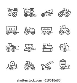 Set line icons of agricultural machinery isolated on white. Combine harvester, tractors and farm equipment. Vector illustration