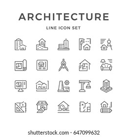 Set line icons of architecture isolated on white. Contains such icons as blueprint, measure, project, construction, house, compass, interior, crane, plant and more. Vector illustration