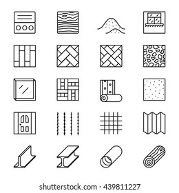 Set of line icons with building construction materials, objects. Vector illustration