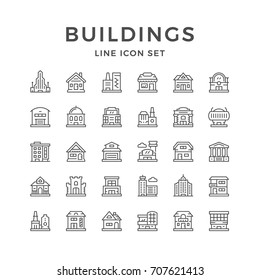 Set line icons of buildings isolated on white. Contains such icons as house, factory, shop, business center, shopping mall, skyscraper, castle, hotel, garage, airport and more. Vector illustration