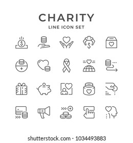 Set line icons of charity