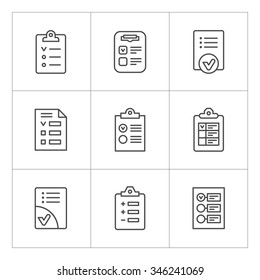 Set line icons of checklist isolated on white. Vector illustration