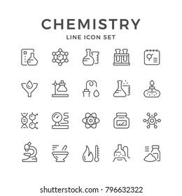 Set line icons of chemistry